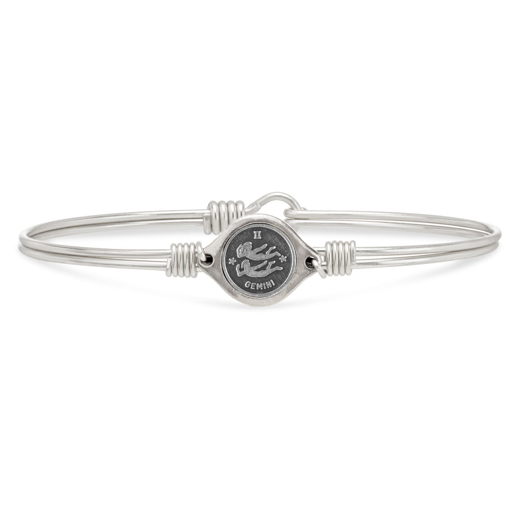 Gemini Zodiac Bangle Bracelet choose finish:Silver Tone