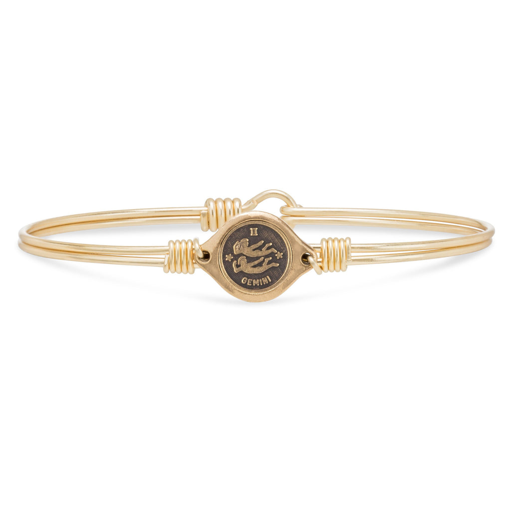 Gemini Zodiac Bangle Bracelet choose finish:Brass Tone