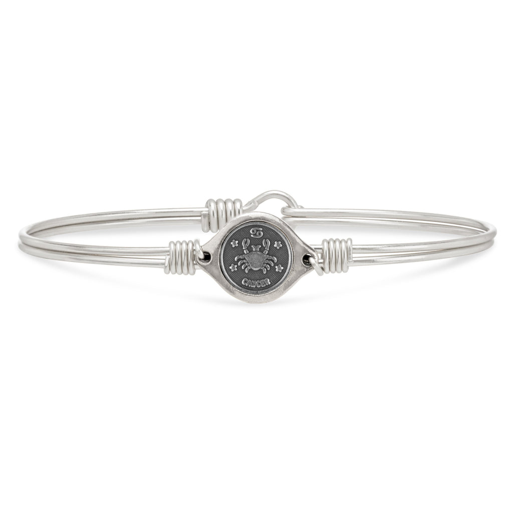Cancer Zodiac Bangle Bracelet choose finish:Silver Tone
