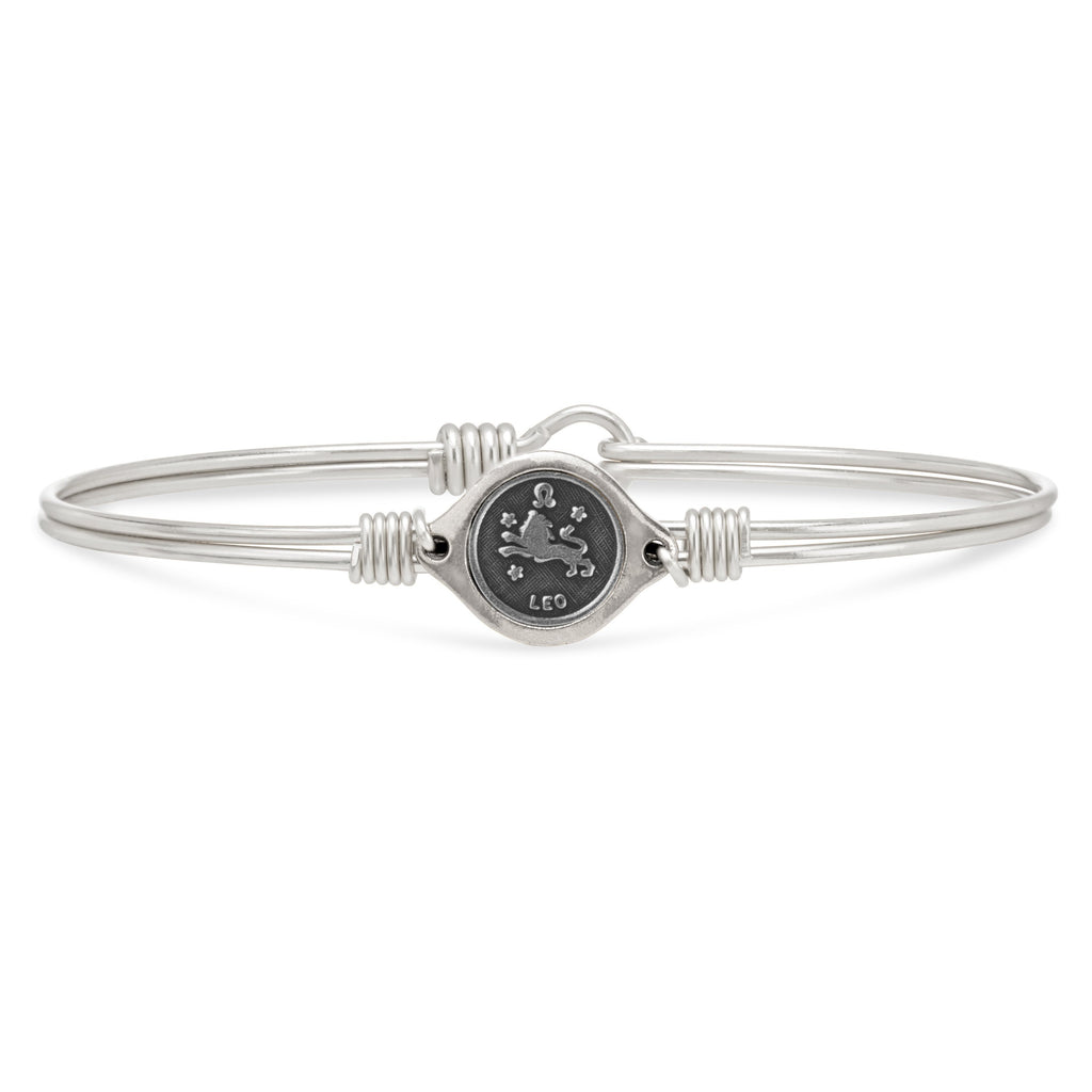 Leo Zodiac Bangle Bracelet choose finish:Silver Tone