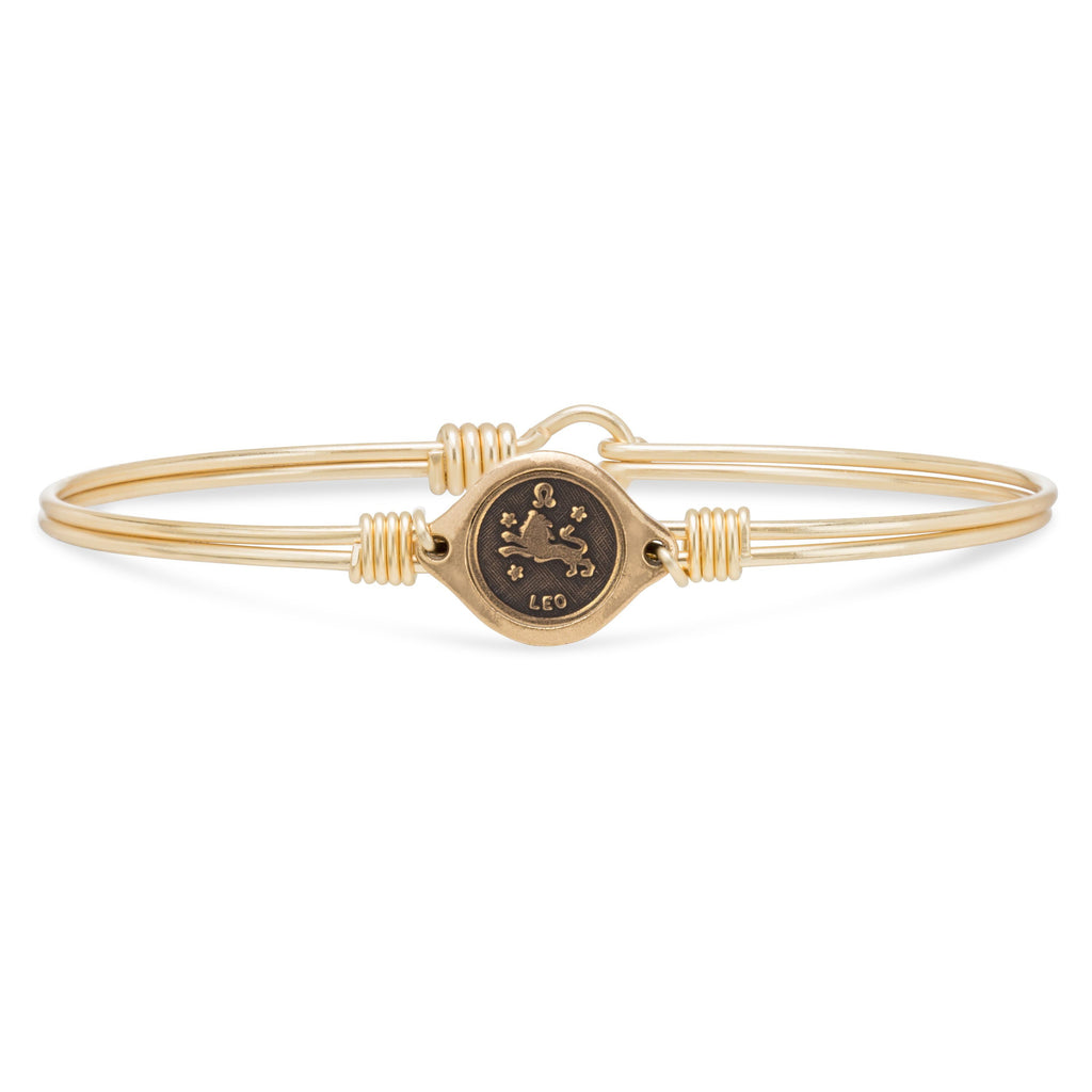 Leo Zodiac Bangle Bracelet choose finish:Brass Tone