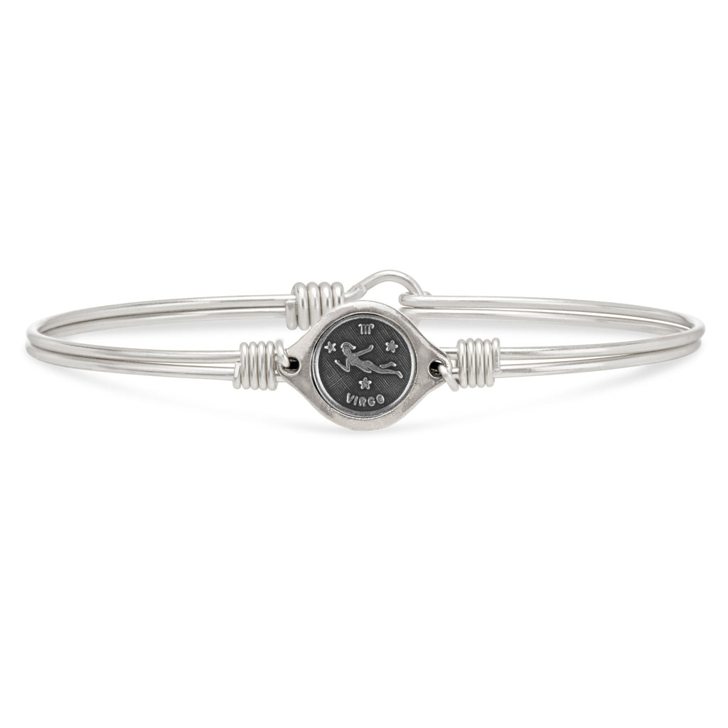 Virgo Zodiac Bangle Bracelet choose finish:Silver Tone
