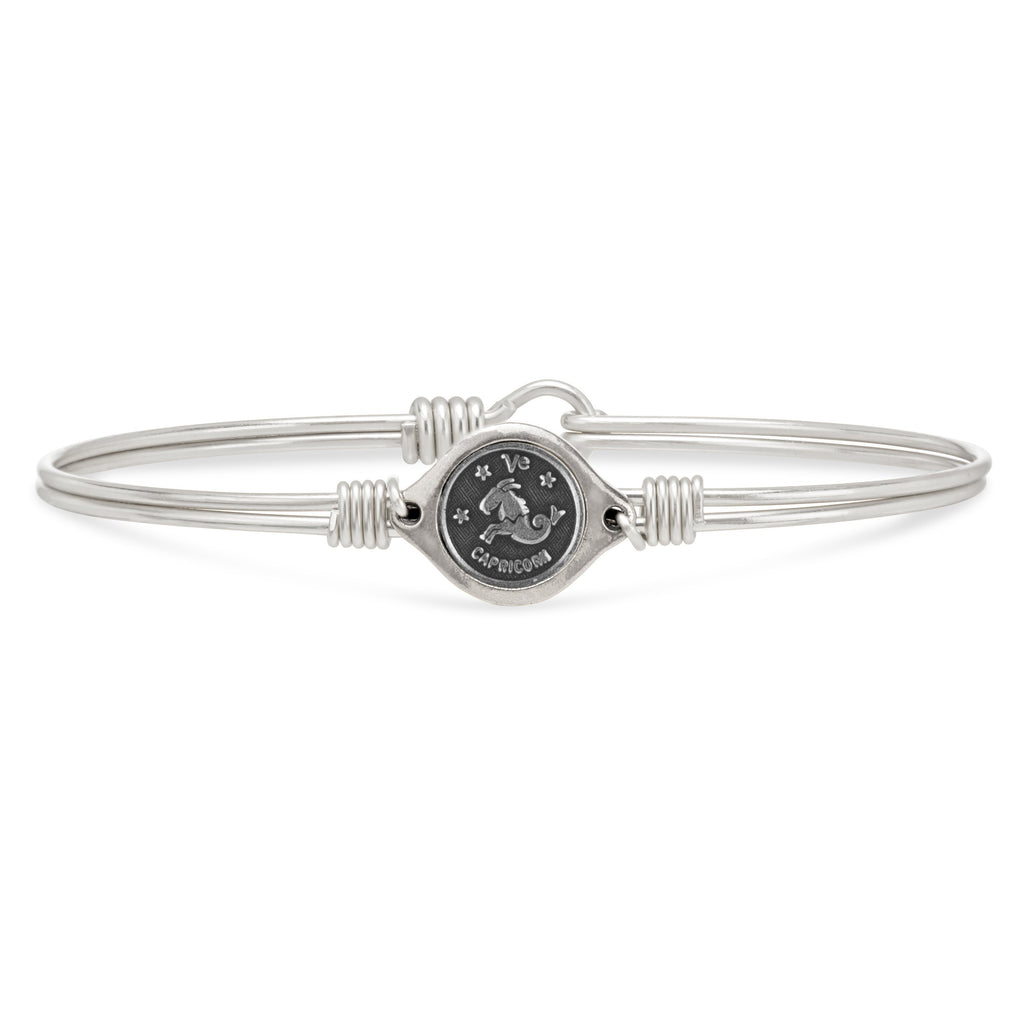 Capricorn Zodiac Bangle Bracelet finish:Silver Tone