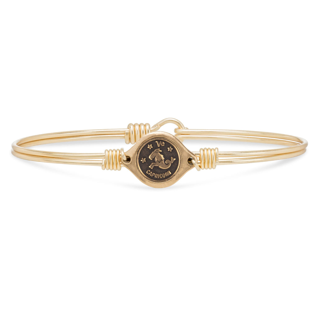 Capricorn Zodiac Bangle Bracelet finish:Brass Tone