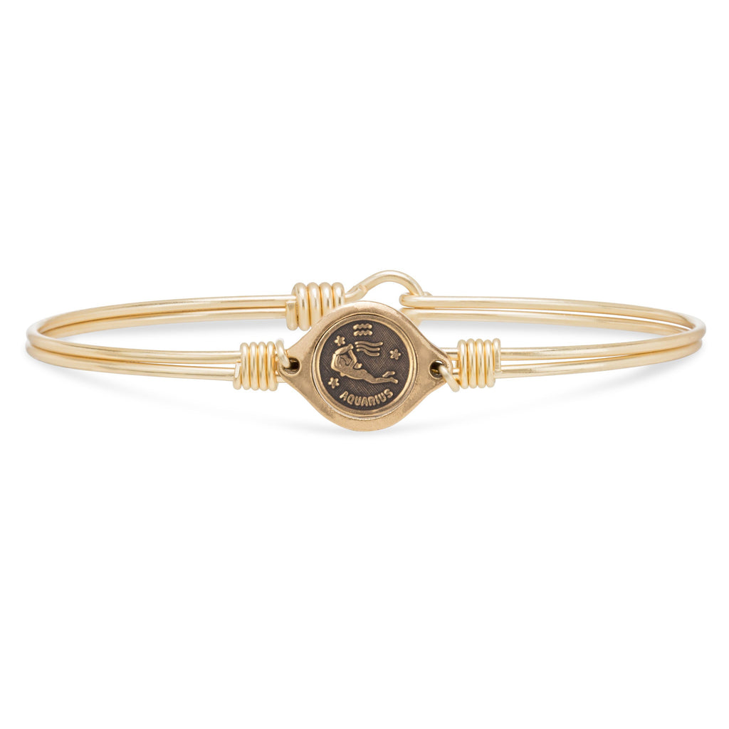 Aquarius Zodiac Bangle Bracelet finish:Brass Tone