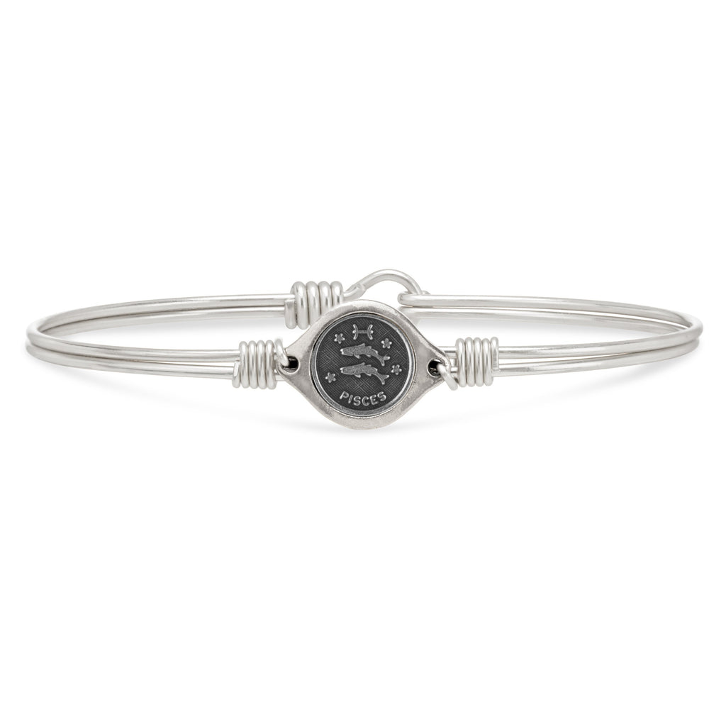Pisces Zodiac Bangle Bracelet choose finish:Silver Tone