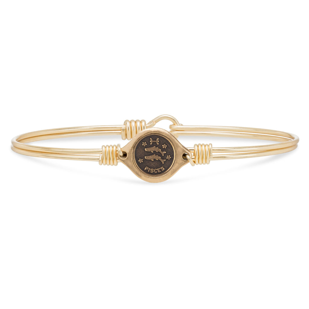 Pisces Zodiac Bangle Bracelet choose finish:Brass Tone