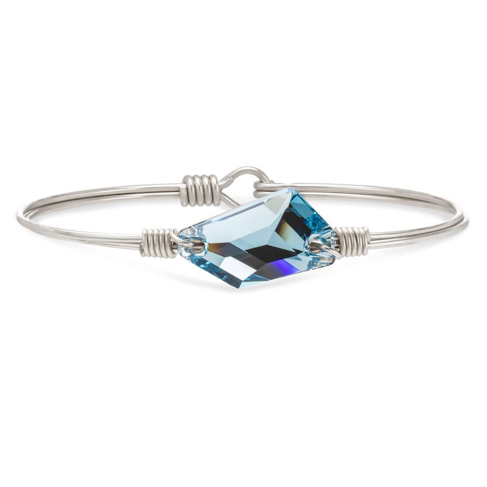 Brooklyn Bangle Bracelet in Clear Blue Sea finish:Silver Tone