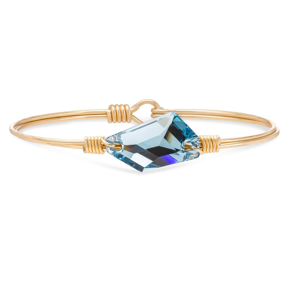 Brooklyn Bangle Bracelet in Clear Blue Sea finish:Brass Tone
