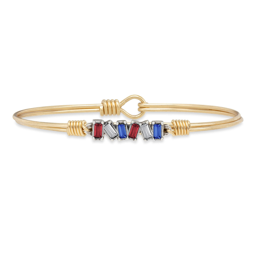 Mini Hudson Bangle Bracelet in Americana Ombre finish:Brass Tone