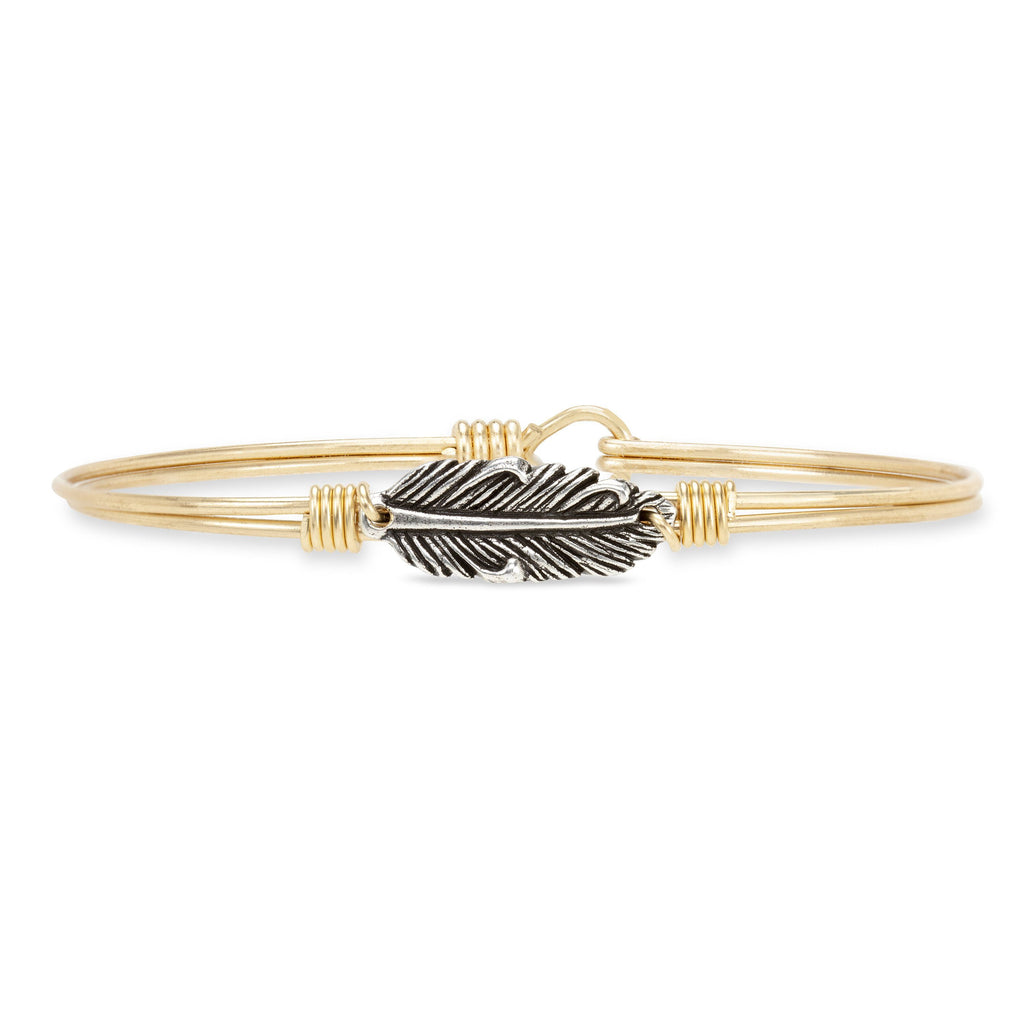 Mini Lucky Feather Bangle Bracelet finish:Brass Tone