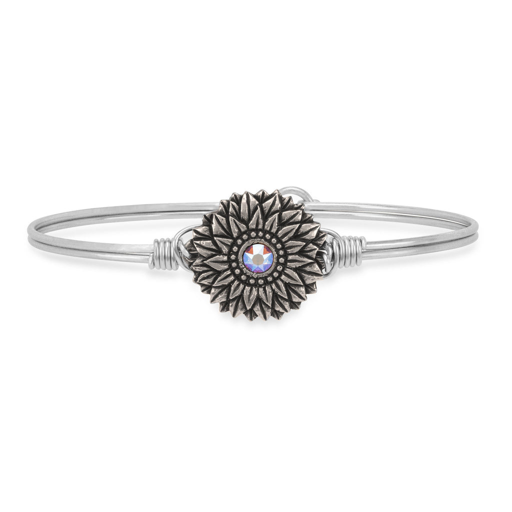 Sunflower Bangle Bracelet finish:Silver Tone