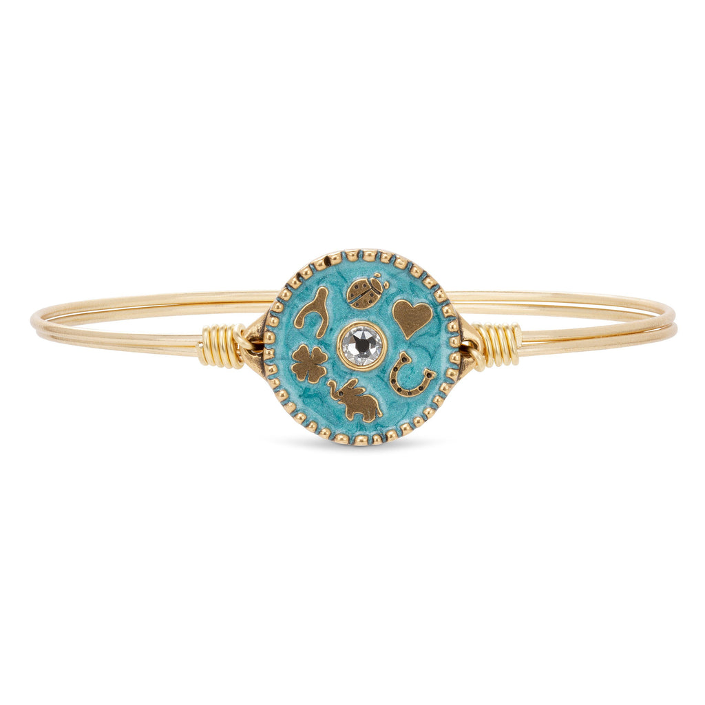 Good Fortune Bangle Bracelet in Blue finish:Brass Tone