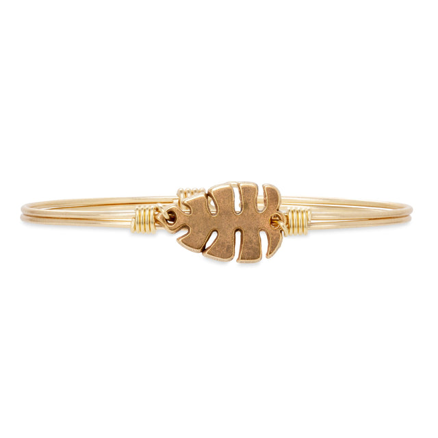 Monstera Leaf Bangle Bracelet finish:Brass Tone