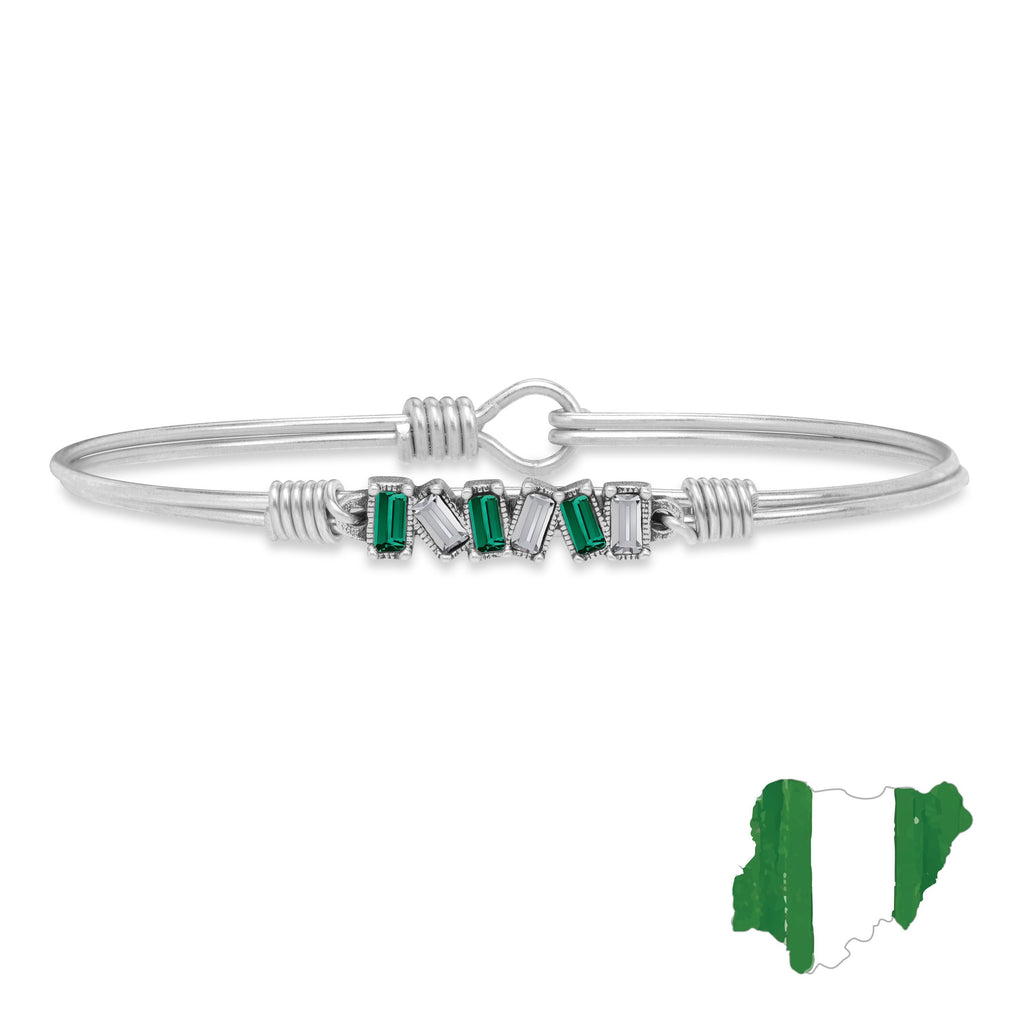 Nigeria Mini Hudson Bangle Bracelet finish:Silver Tone
