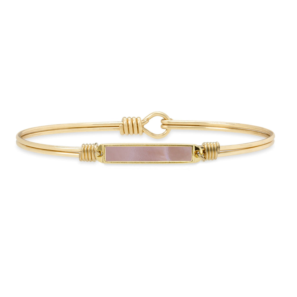 Hudson Bangle Bracelet in Pink Mussel Shell finish:Brass Tone