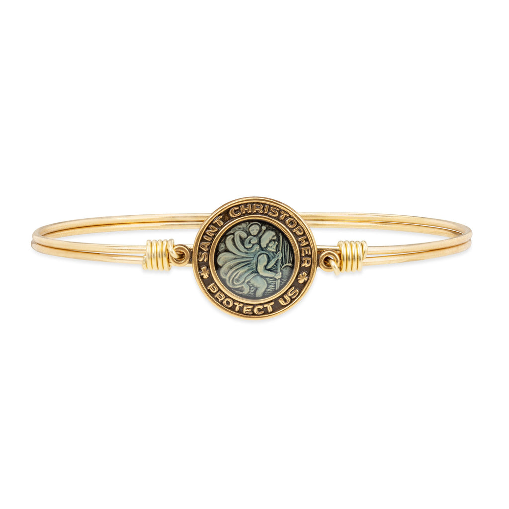 Saint Christopher Bangle Bracelet finish:Brass Tone