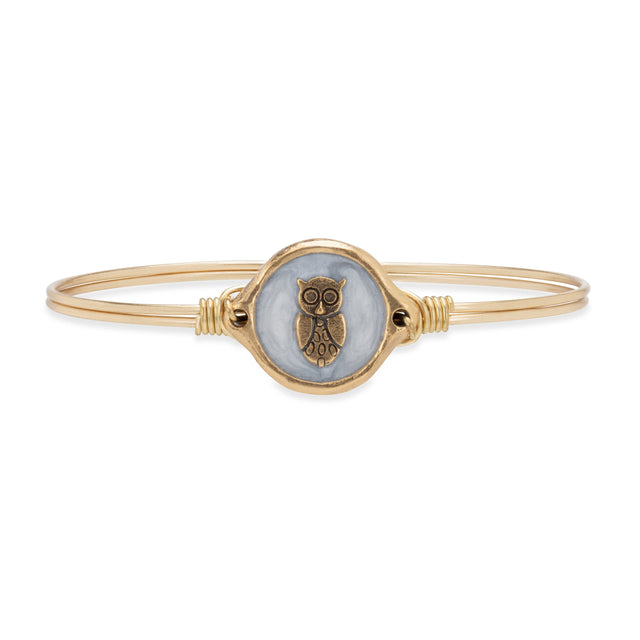 Wise Owl Bangle Bracelet finish:Brass Tone