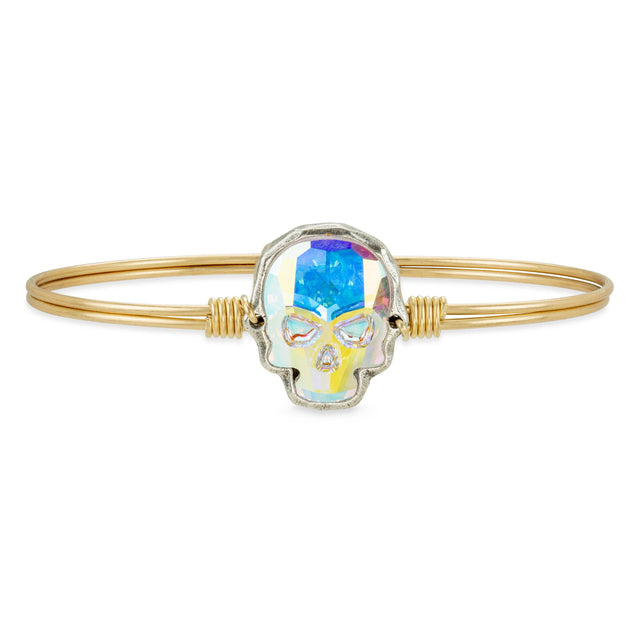 Sugar Skull Bangle Bracelet in Aurora Borealis finish:Brass Tone
