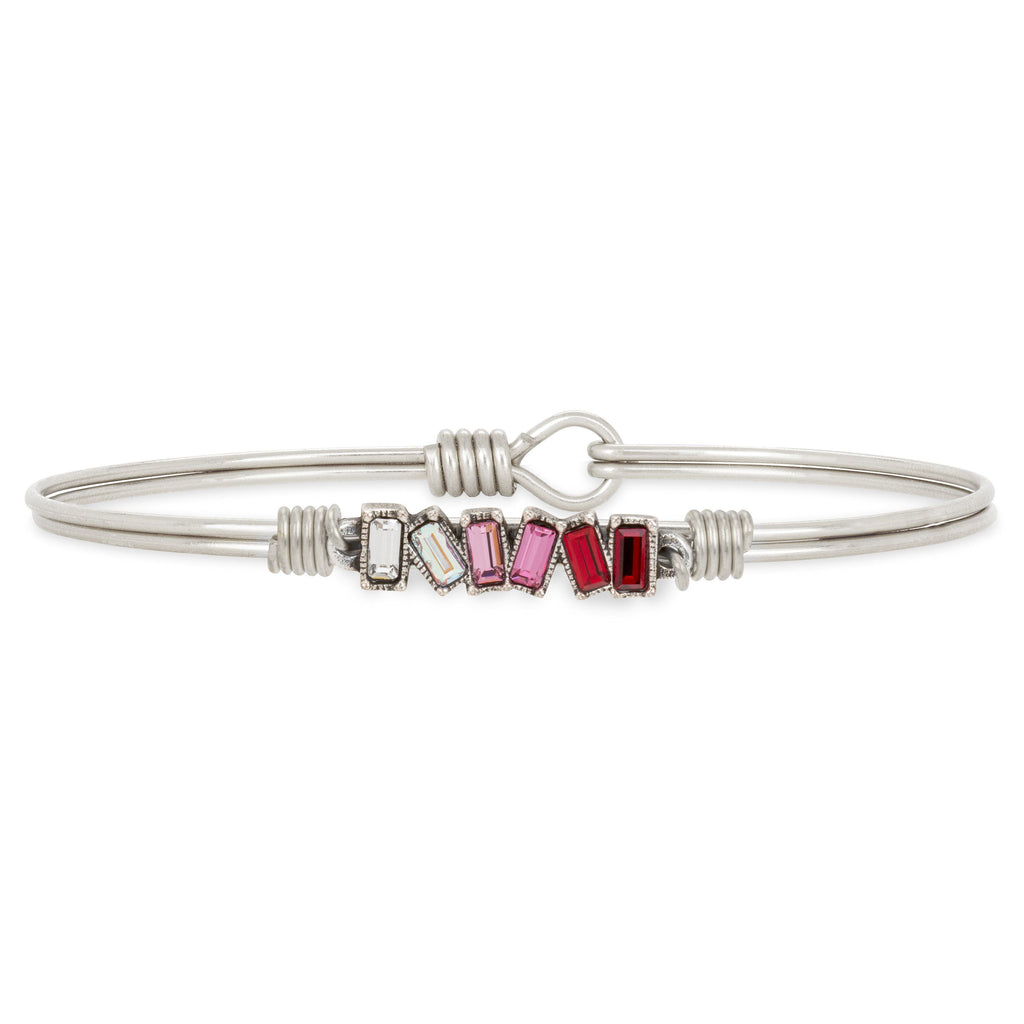 Mini Hudson Bangle Bracelet in Love Ombre choose finish:Silver Tone