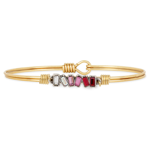 Mini Hudson Bangle Bracelet in Love Ombre finish:Brass Tone