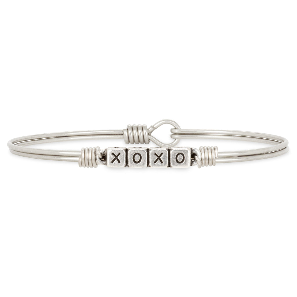 XOXO Blocks Bangle Bracelet choose finish:Silver Tone