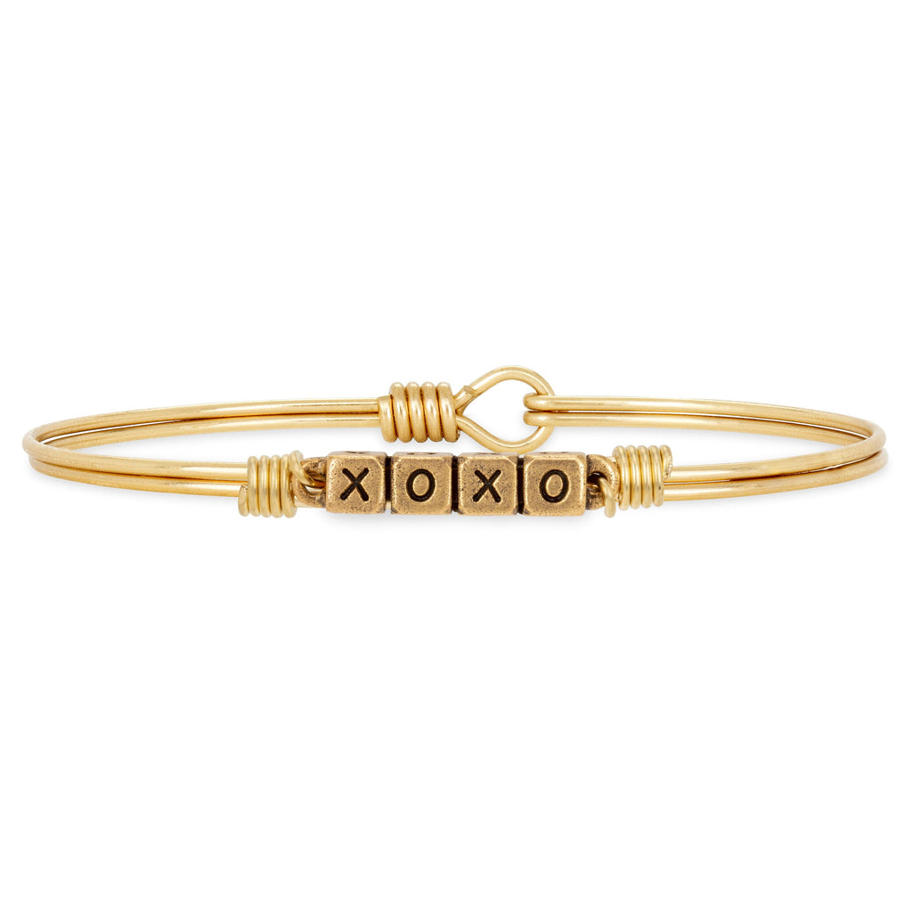 XOXO Blocks Bangle Bracelet choose finish:Brass Tone