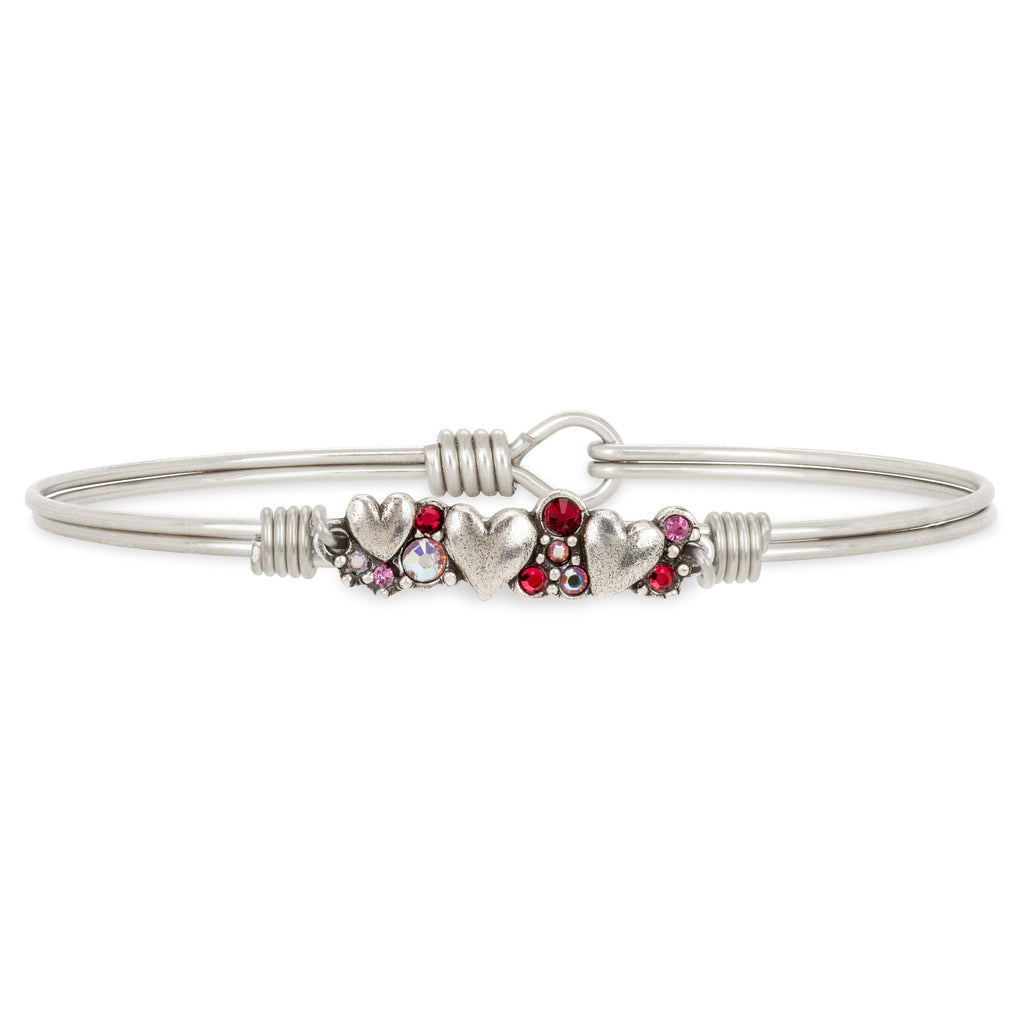 Heart Medley Bangle Bracelet choose finish:Silver Tone