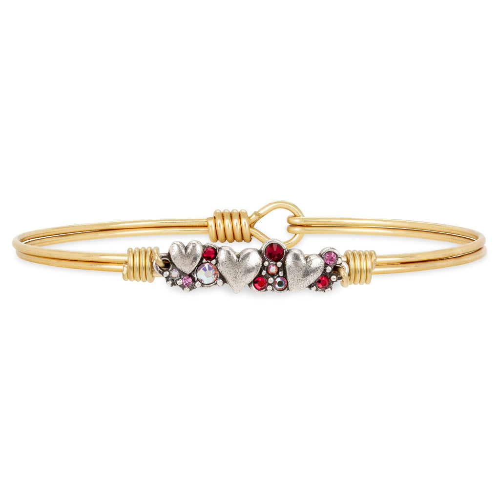 Heart Medley Bangle Bracelet choose finish:Brass Tone