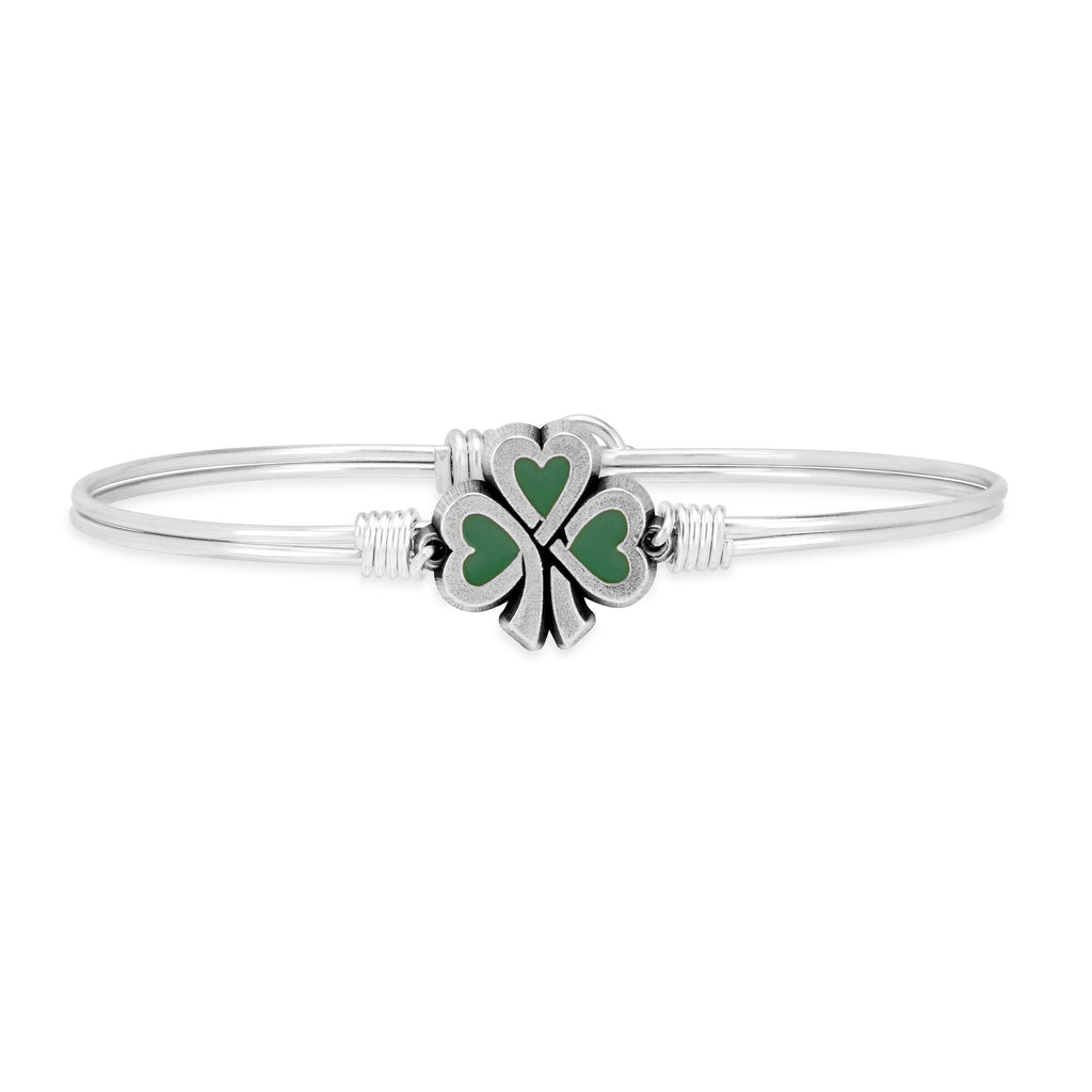 Lucky Shamrock Bangle Bracelet choose finish:Silver Tone