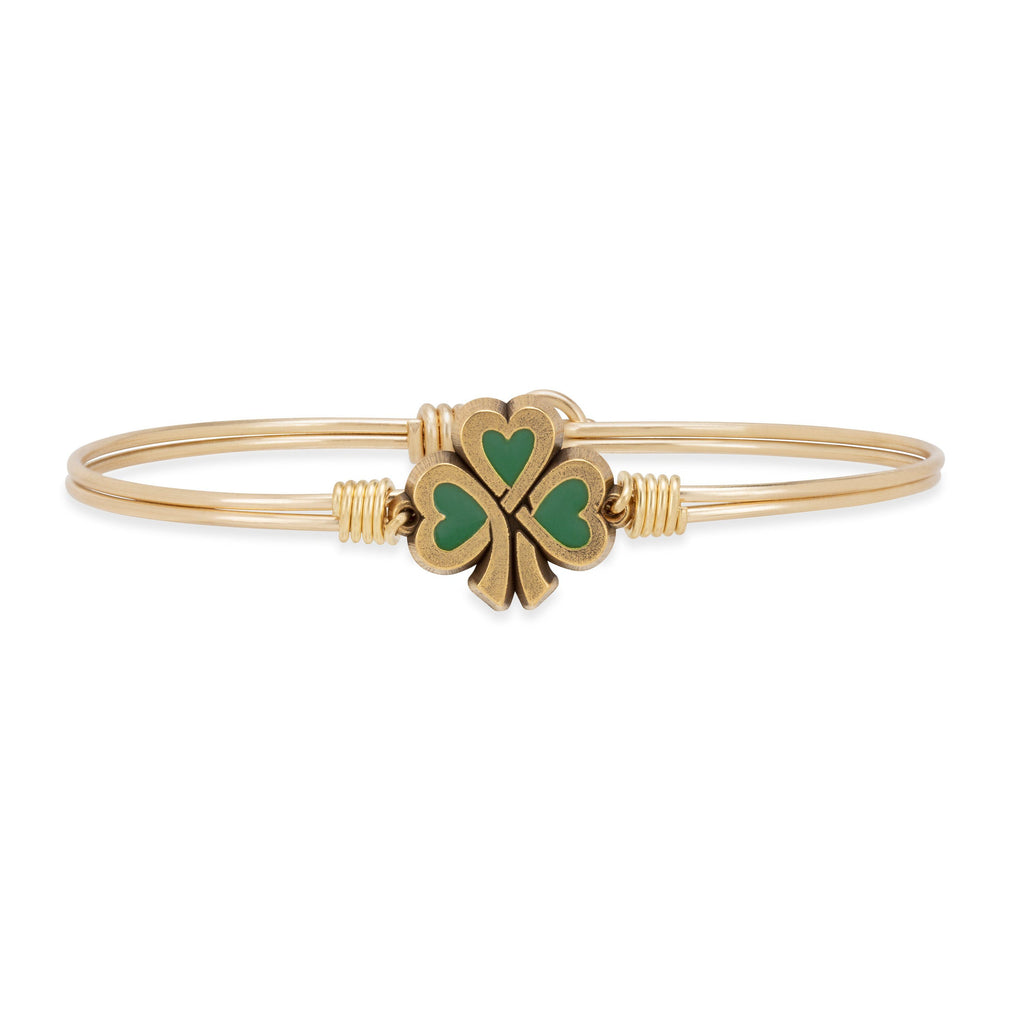 Lucky Shamrock Bangle Bracelet choose finish:Brass Tone