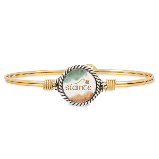 Slainte Bangle Bracelet choose finish:Brass Tone