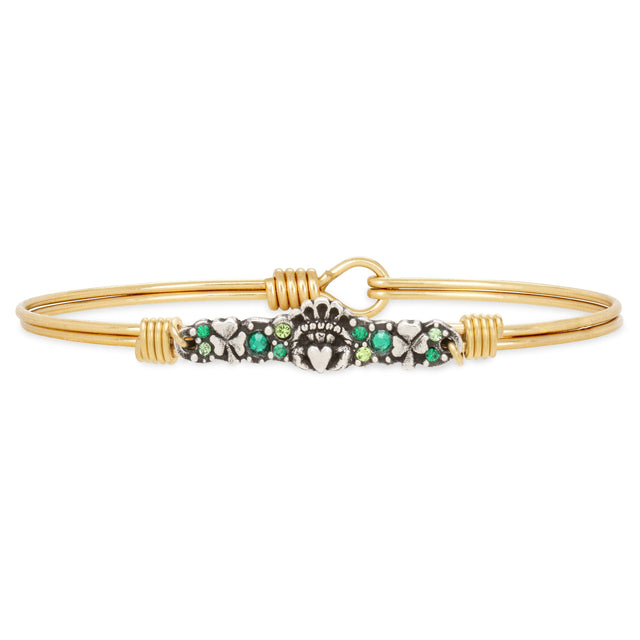 Irish Medley Bangle Bracelet choose finish:Brass Tone