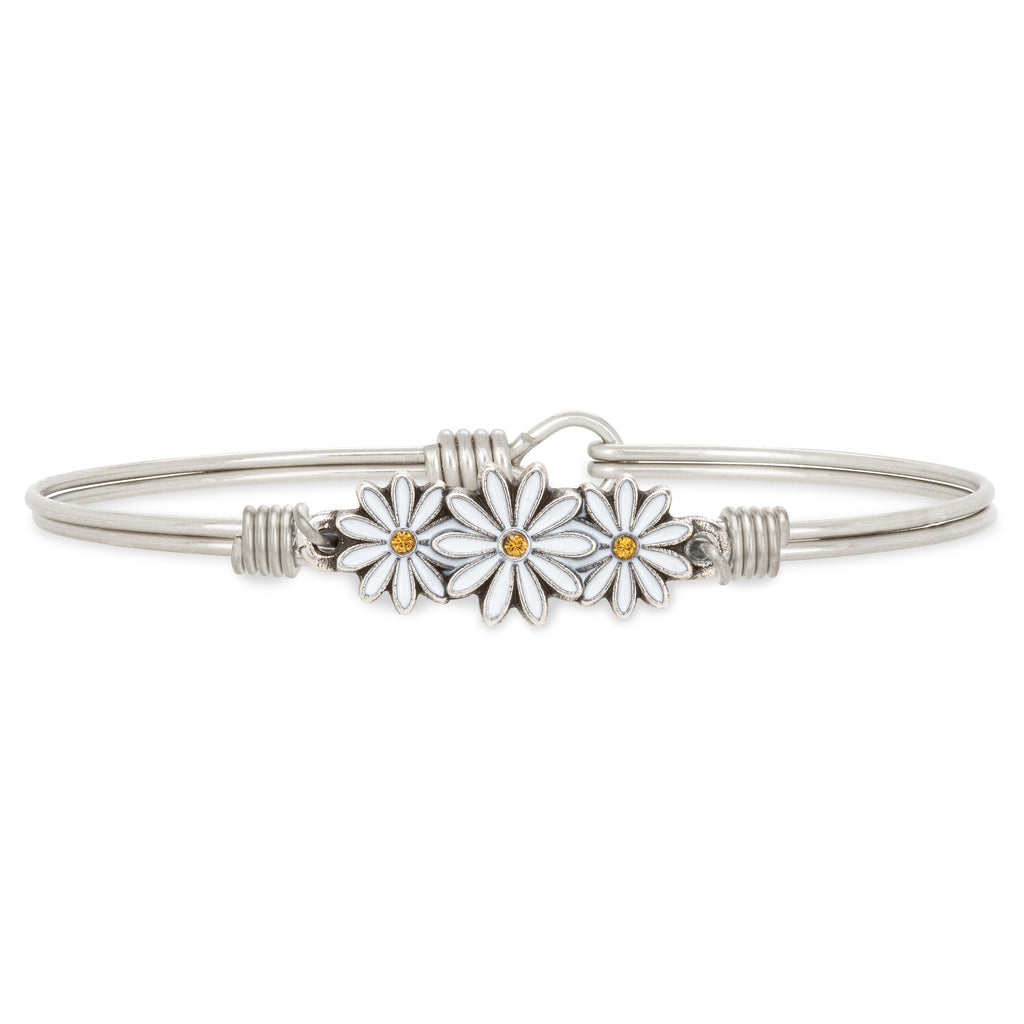 Daisies Bangle Bracelet choose finish:Silver Tone