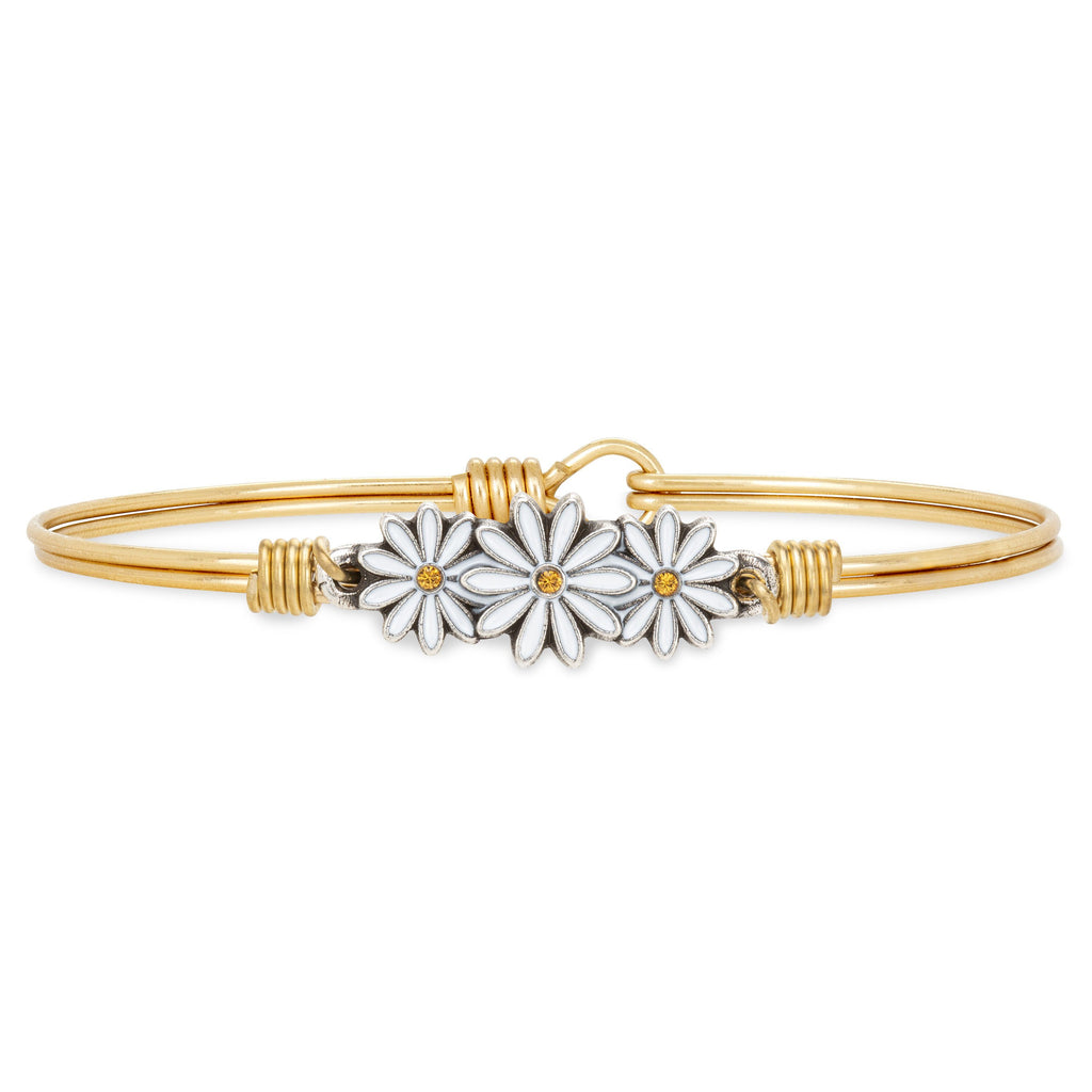 Daisies Bangle Bracelet choose finish:Brass Tone
