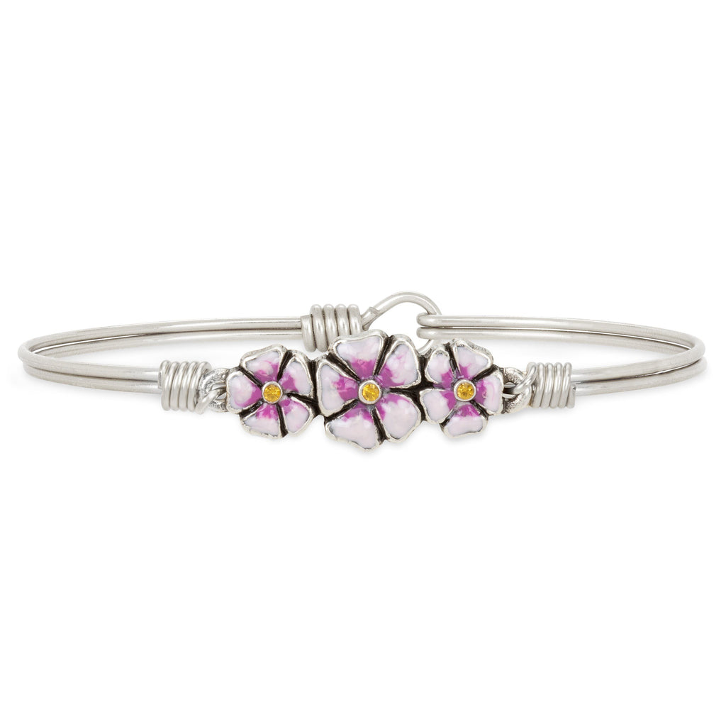 Cherry Blossom Bangle Bracelet choose finish:Silver Tone