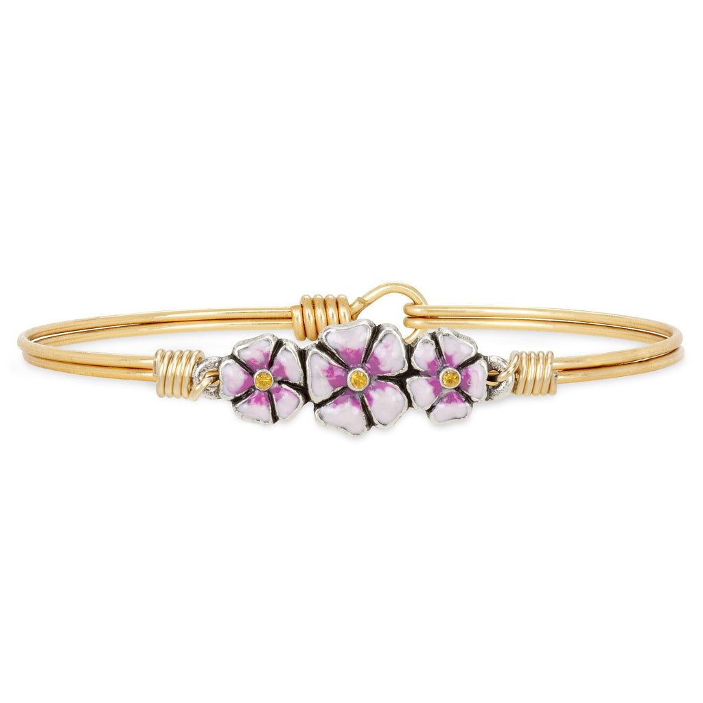 Cherry Blossom Bangle Bracelet choose finish:Brass Tone