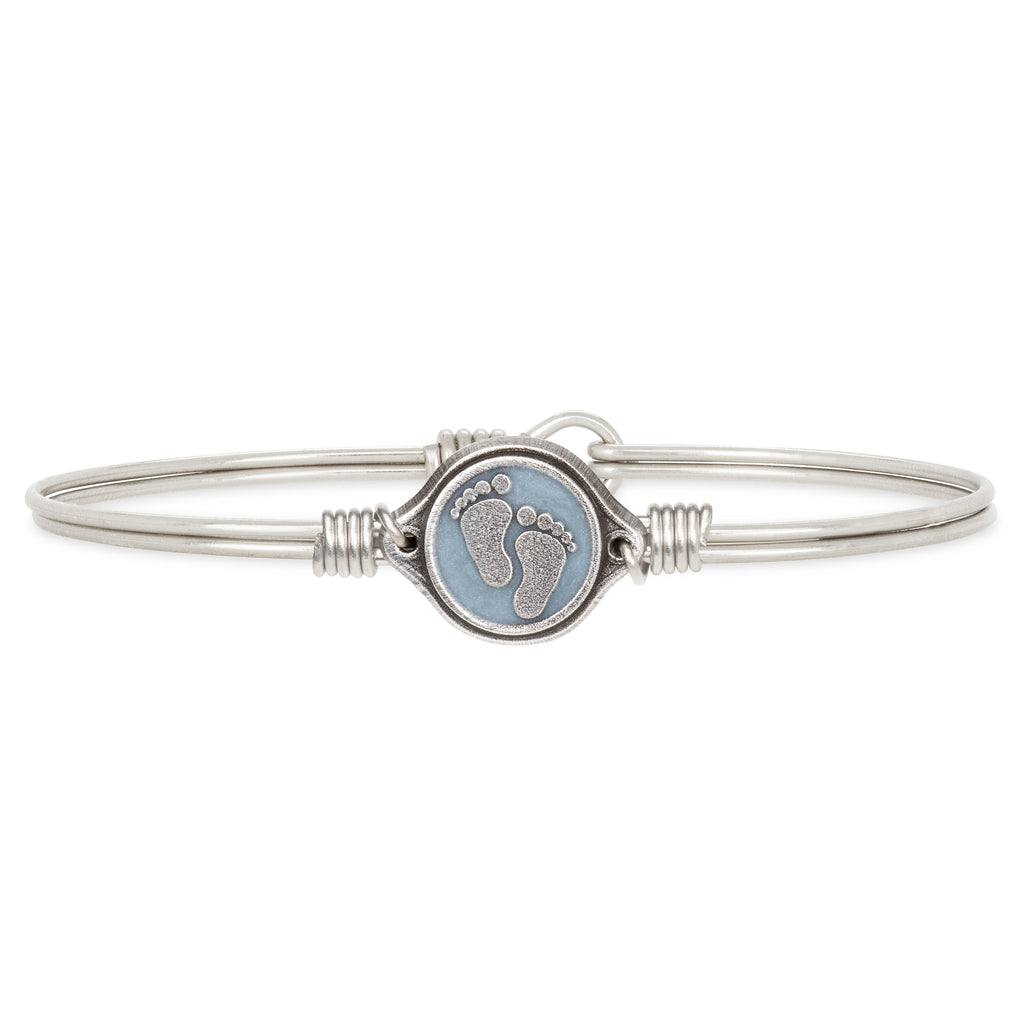 Little Footsteps Bangle Bracelet in Blue choose finish:Silver Tone