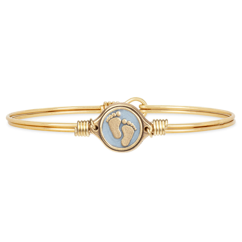 Little Footsteps Bangle Bracelet in Blue choose finish:Brass Tone