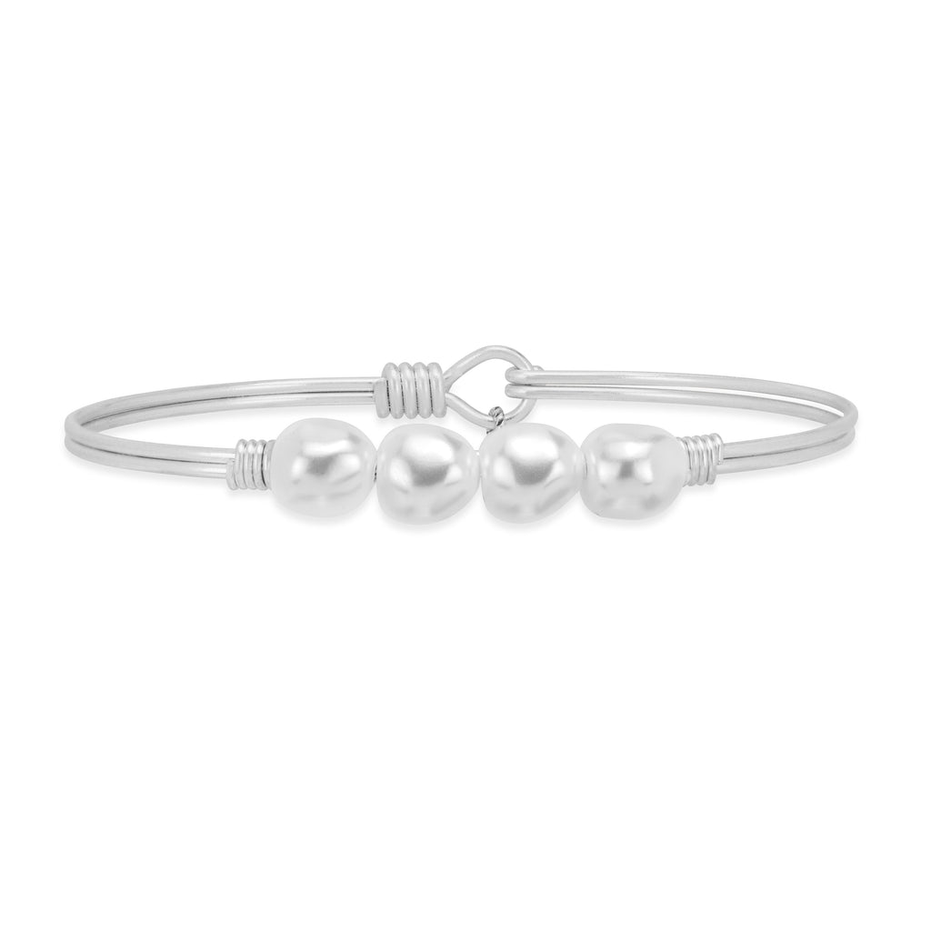 Baroque Crystal Pearl Bangle Bracelet choose finish:Silver Tone