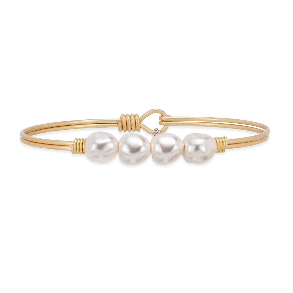 Baroque Crystal Pearl Bangle Bracelet choose finish:Brass Tone