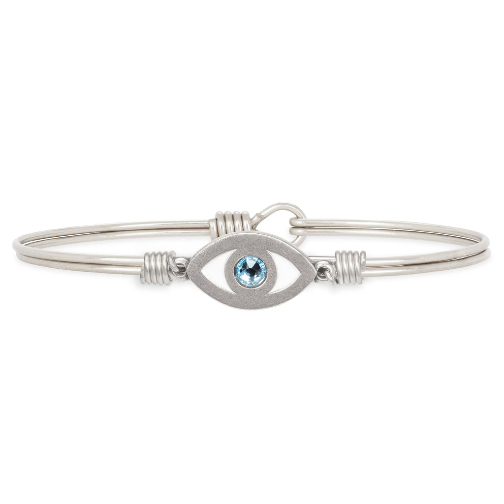 Evil Eye Bangle Bracelet choose finish:Silver Tone