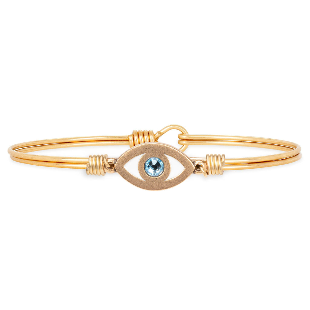 Evil Eye Bangle Bracelet choose finish:Brass Tone