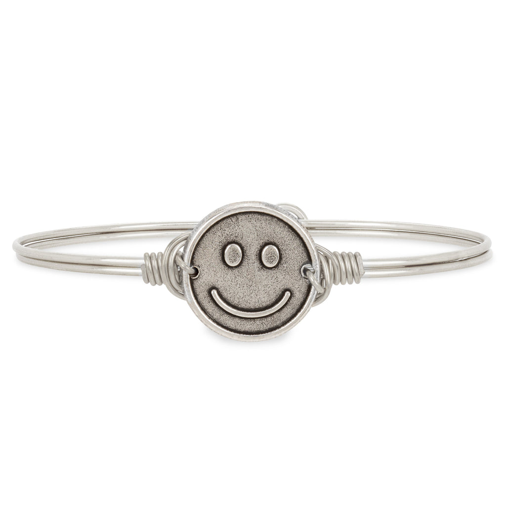 Be Happy Bangle Bracelet choose finish:Silver Tone