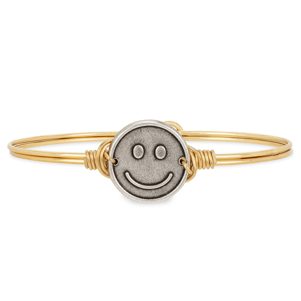 Be Happy Bangle Bracelet choose finish:Brass Tone