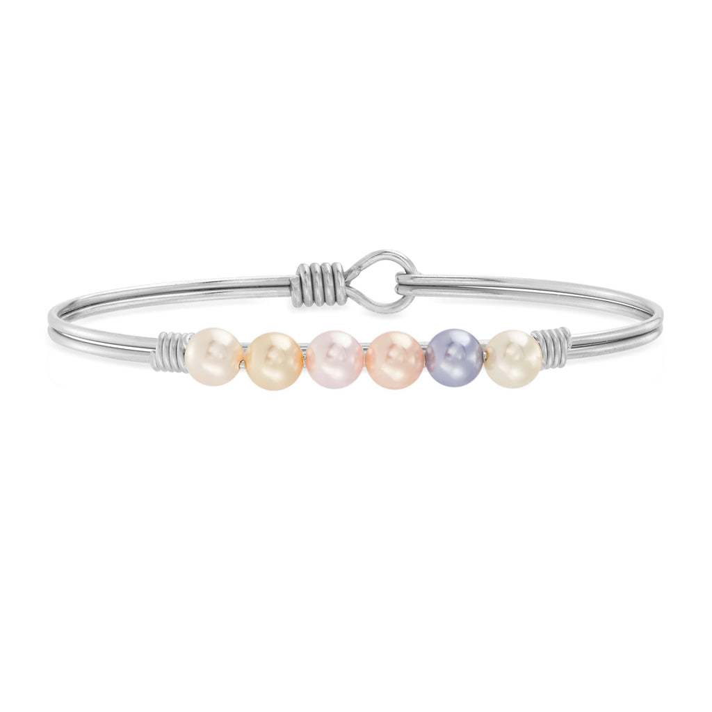 Ombre Crystal Pearl Bangle Bracelet choose finish:Silver Tone