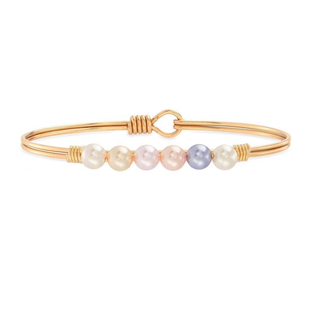 Ombre Crystal Pearl Bangle Bracelet choose finish:Brass Tone