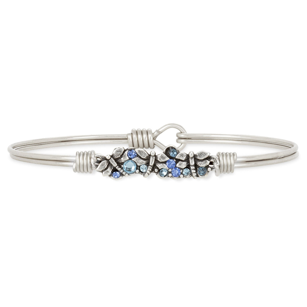 Dragonfly Medley Bangle Bracelet choose finish:Silver Tone
