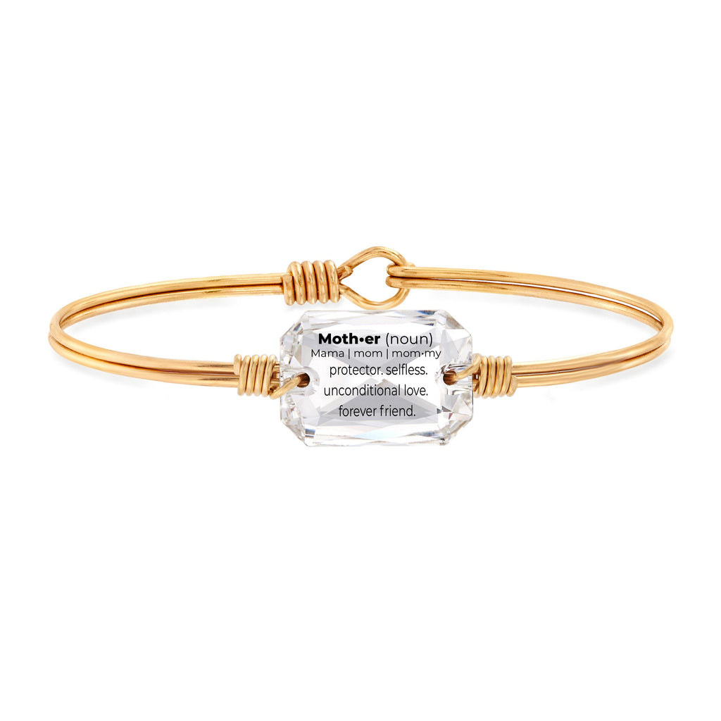 Mom Definition Bangle Bracelet in Crystal choose finish:Brass Tone choose crystal color:Crystal