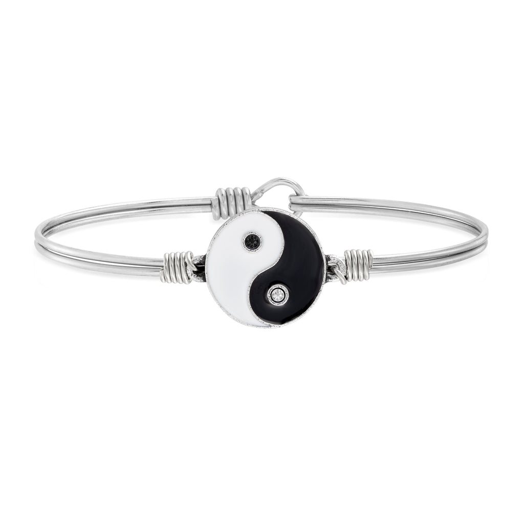Yin Yang Bangle Bracelet choose finish:Silver Tone